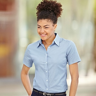Fruit of the Loom Lady-Fit Short Sleeve Oxford Shirt