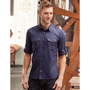 Russel Men's Roll Long Sleeve Fitted Twill Shirt 918M