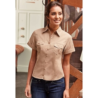 Russel Ladies´ Roll Short Sleeve Fitted Twill Shirt 919F