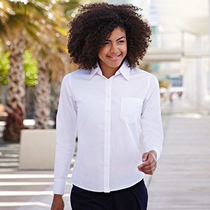 FOTL Lady-Fit Long Sleeve Poplin Shirt