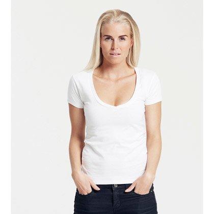 Damen-T-Shirt mit weitem V-Ausschnitt von Neutral