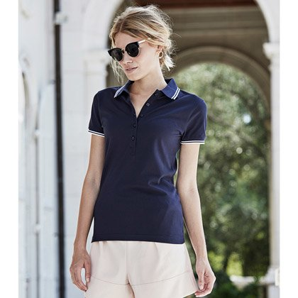 Teey Jays Ladies Stripe Stretch Polo