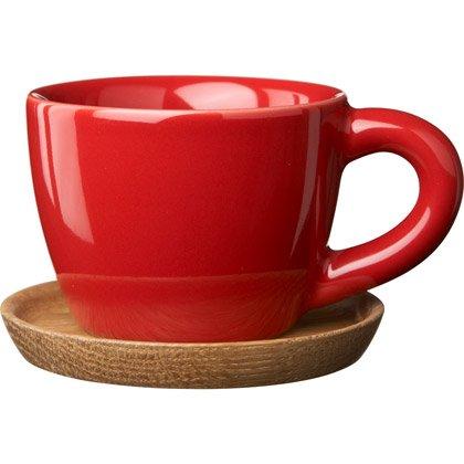 Höganäs-espressomuki ja puinen asetti