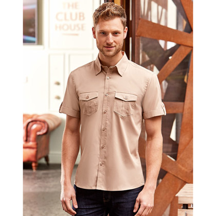 Russell Men´s Roll Short Sleeve Fitted Twill Shirt 919M