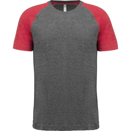 grey heather/ sport red heather