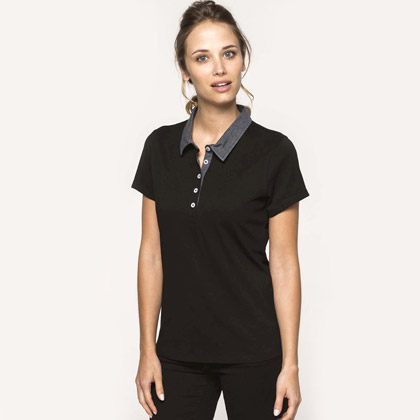 Kariban Ladies´ Two-Tone Jersey Polo Shirt