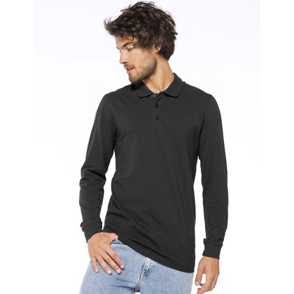 Kariban Men´s Long-Sleeved Pique Polo Shirt