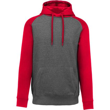 grey heather/ sport red heather