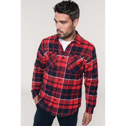Kariban Sherpa-Lined Checked Shirt Jacket