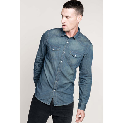 Kariban Men´s Long-Sleeved Denim Shirt