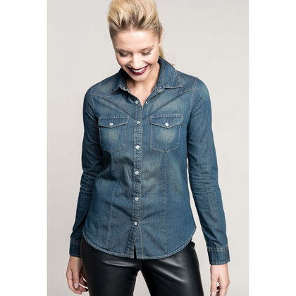 Kariban Ladies´ Long-Sleeved Denim Shirt